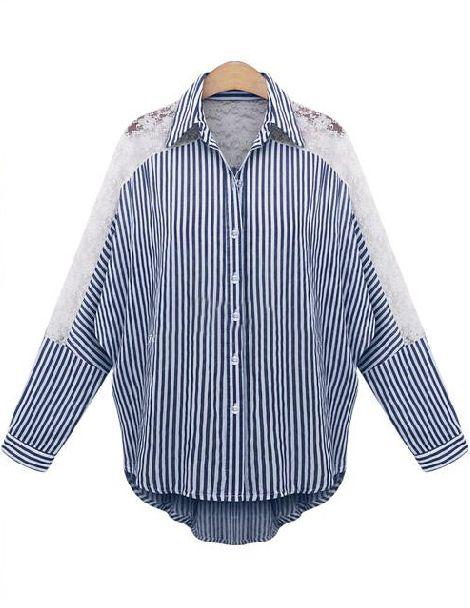 Blue Lapel Contrast Lace Striped Blouse 20.83