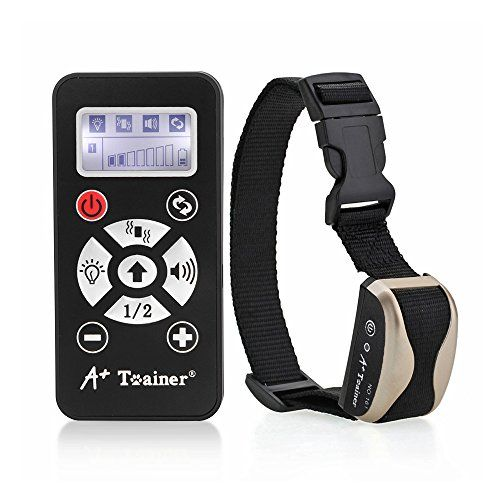 marsboy A+ Trainer 800 Meters Remote Dog Training Collar Waterproof Auto Anti Barking Collars Rechargeable Pet Trainer with Warning Tones, Vibration, Signal Lights Function-Champagne