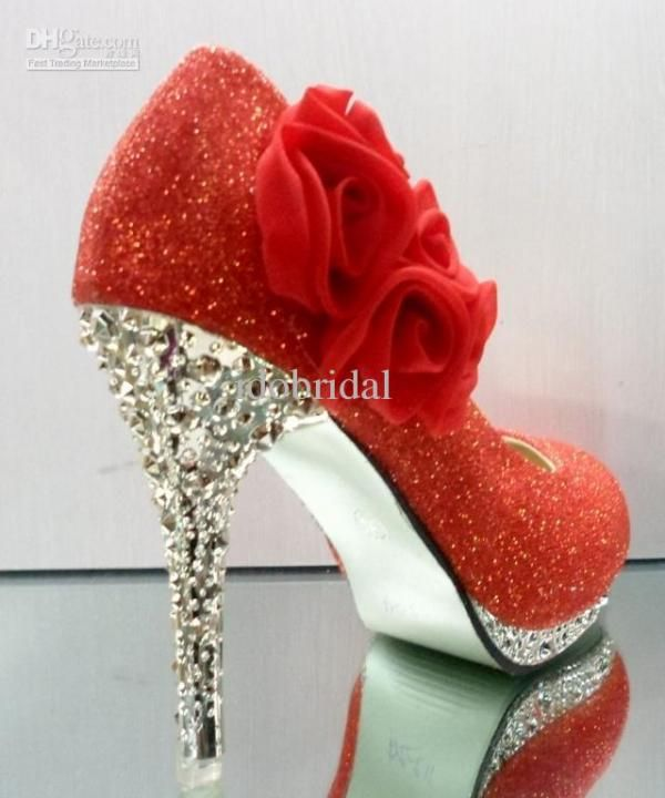 Party princess red champagne flowers high heel wedding evening shoes dress shoeses pump