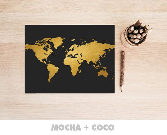 Gold World Map Poster | Travel Print, Office Decor, Travel Art, Kids Room, Nursery, Printable Mocha + Coco, Intstant PRINT FILE DOWNLOAD