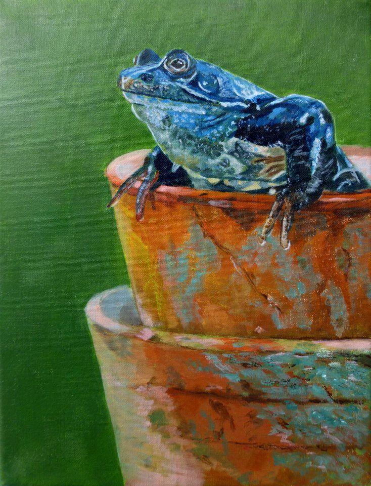 Blue Frog by Yvonne. Painting artist at Art studio Eduard Moes