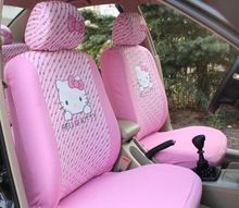 Universal Car Seat Covers Red Heart Cartoon Hello Kitty Interior Accessories For 5 Cars