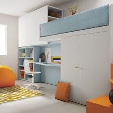 Modern Bunk #Beds with under desk and #staircase