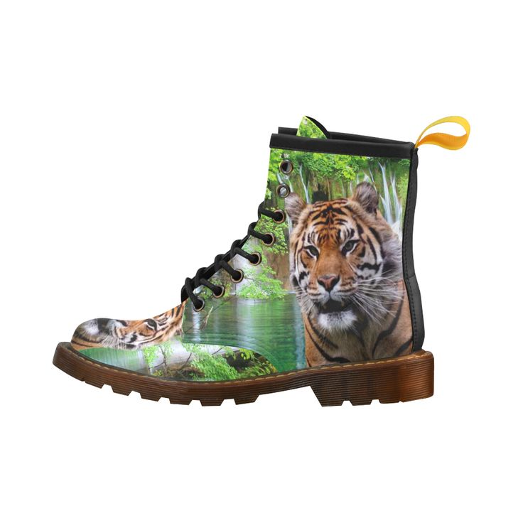 Tiger and Waterfall Leather Martin Boots For Men #erikakaisersot #artsadd #boots