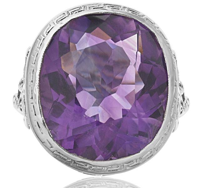 Purple Heaven! Art Deco Amethyst set in White Gold...