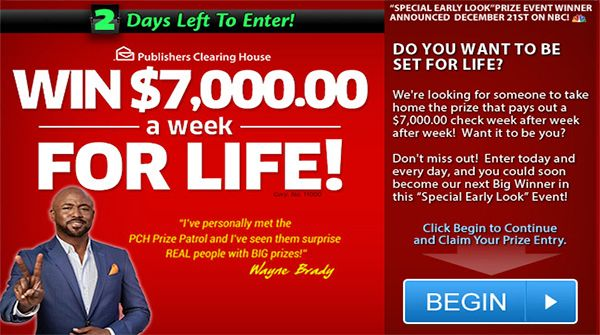 PCH $7,000 a Week For Life Sweepstakes | forreal | Enter