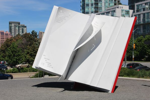 "Steel sculpture ""The Book"" by Ilan Sandler, Canada artist, located in Celebration Square, Mississauga, ON. #publicart #art #sculpture #Mississauga"
