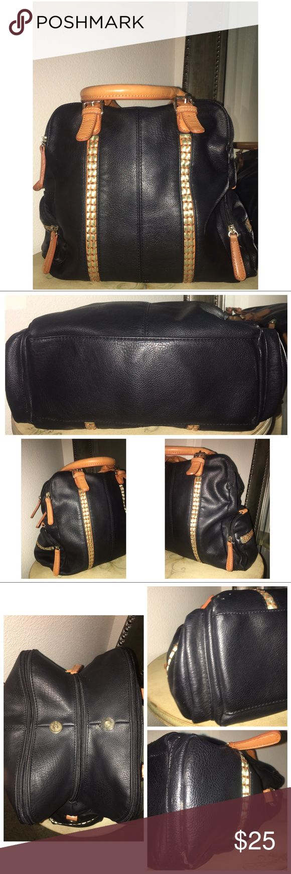 """Big Buddha Handbag Pre•loved Big Buddha 3 compartment bag Black Has 3 zipper compartments  Snap button closure at the top (slight peeling next to the button) not noticeable when the bag is closed Interior is clean Handles are in excellent condition  Corners are slightly scuffed Measures approx; Length 12.5"""" x Height 12"""" x Width 5"""" 6417F Big Buddha Bags"""