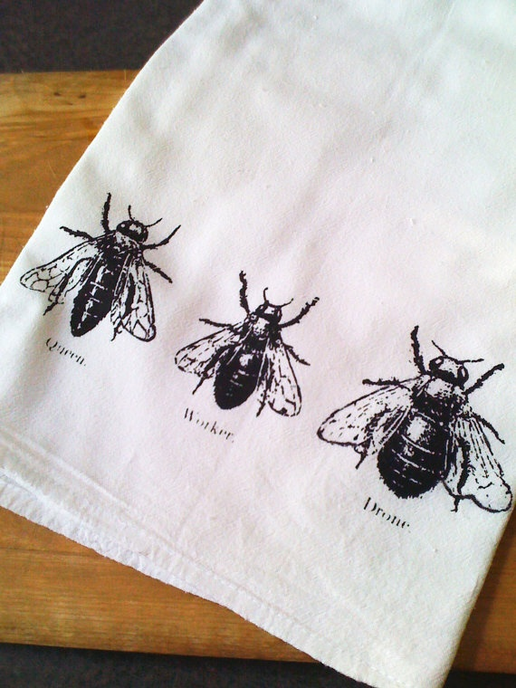 Bee Trio Screen Printed Kitchen Flour Sack Tea Towel