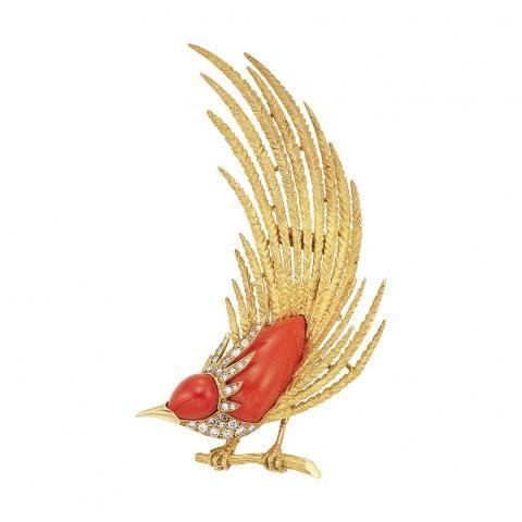 Zlato, Coral a Diamond Bird Clip-brož, Gumbiner k prodeji při dražbách, St, 04/21/2010 - 07:00 - Důležité Estate šperky | Doyle Aukční dům