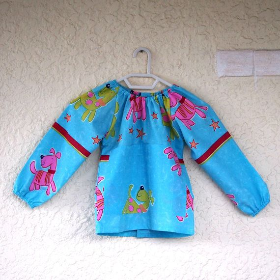 Art smock  M 5-7  Neon Dog by UtopiaHandmade on Etsy