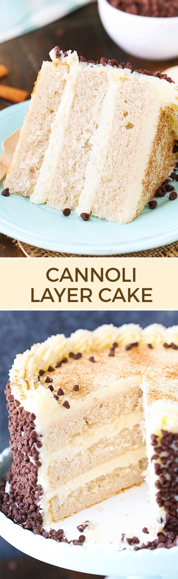 Cannoli Layer Cake - moist and fluffy layers of cinnamon cake with mascarpone and ricotta filling and a mascarpone frosting! To die…
