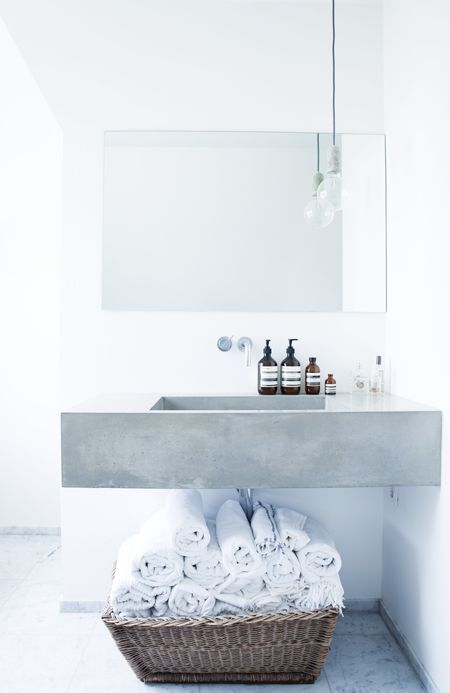 residential bathroom basin mirror pendant concrete white interior design tile