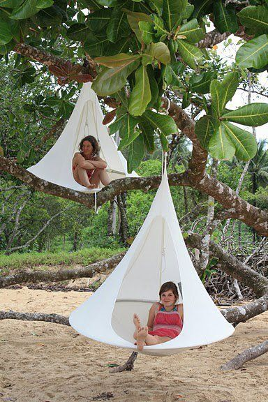 Creatures that sleep in trees on the beach... Meet a Cacoon; the coolest hanging haven for grown-ups and what a fantastic place for growing up in for kids.