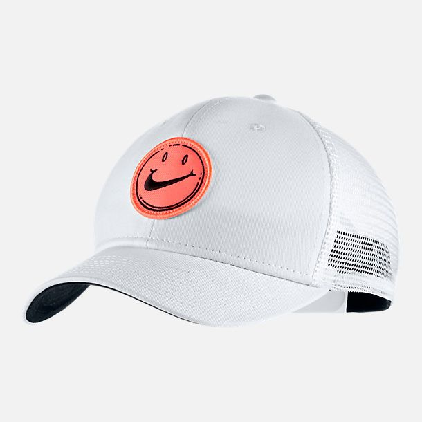 bb5aa42dfae Front view of Unisex Nike Sportswear Classic 99 Have A Nice Day Snapback Hat  in White Black Bright Mango