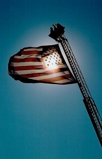 Pawtucket Fire Department Ladder Truck & American Flag