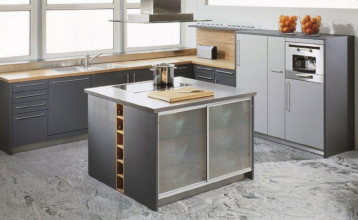 graue küche mit kochinsel | küche | pinterest, Deko ideen