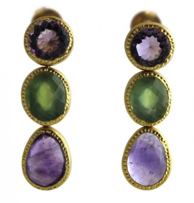 Amy  Amethyst/Prehnite Vermeil  Earrings