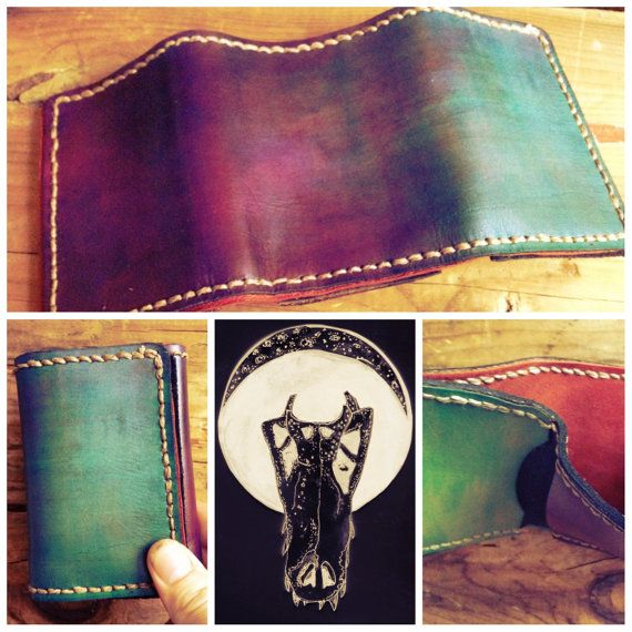 Handmade Trifold Leather Wallet. Hand Painted. by GritsNHokum, $35.00