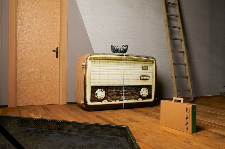 Radio 3D #cardboard cabinet from #kubedesign XXL collection  cardboard #architectures