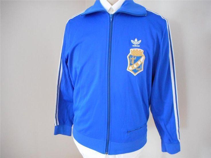 Blå 70-tal vintage Adidas overall jacka sport retro unisex L