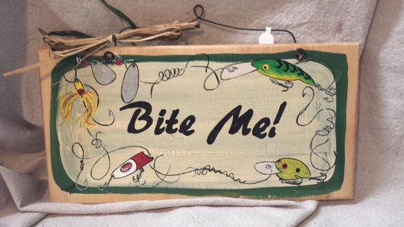 Fishing Lures hand painted wooden sign by gonepostal09 on Etsy