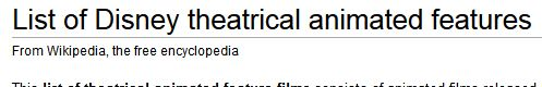 List of Disney theatrical animated features - Wikipedia, the free encyclopedia