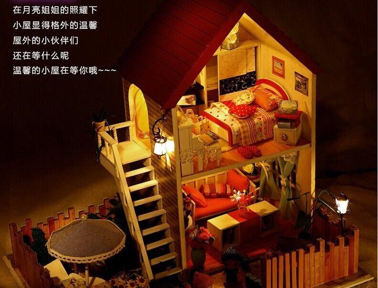 Кукольный сборка куклы дом полностью меблированные из светодиодов огни, Кукольный миниатюрный, Строительство модель, Поделки ручной работы хижина комплекткупить в магазине Fashion Shop 7наAliExpress