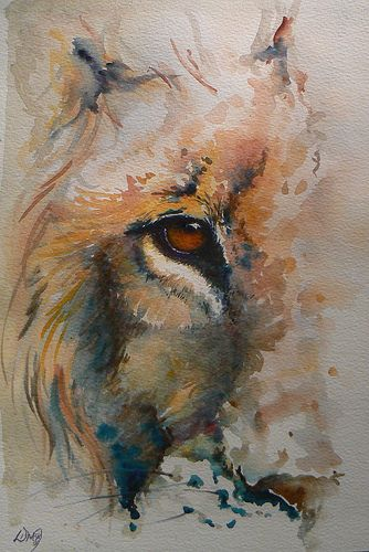 lion - watercolor!!! This might interest me in trying watercolors again. Nah, I'll stick with acrylic. Pretty though, what a talent!
