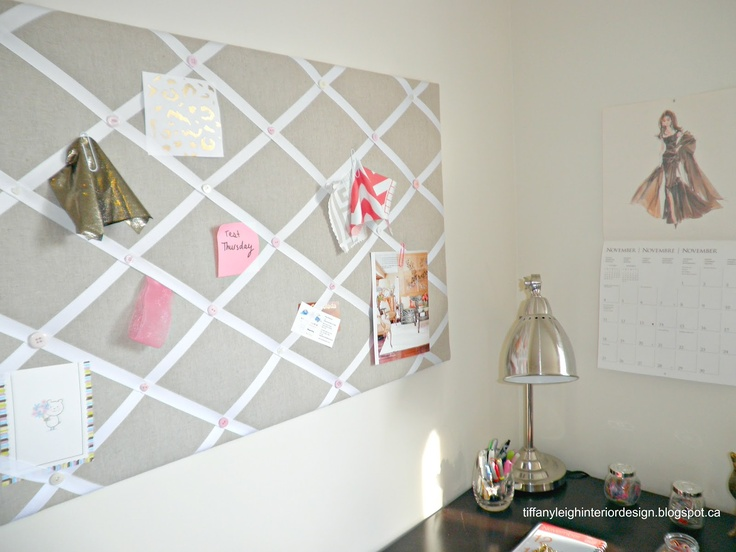 DIY Ribbon and Linen Pinboard by @TiffanyLeighID - great job, love those button details!