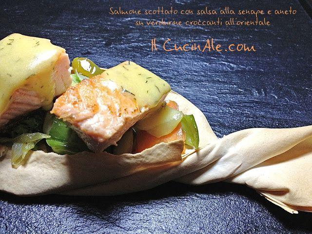 Salmone scottato con salsa alla senape e aneto su verdurine cotte all'orientale in caramella di pasta fillo