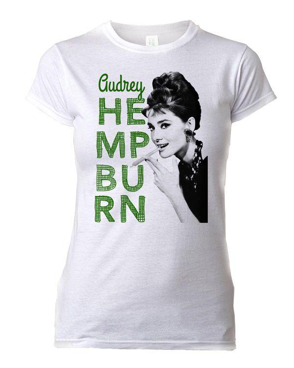 Audrey Hepburn T-Shirt Smoking Marijuana Hemp Weed Pot Swag Women Pot Parody  #Gildan #GraphicTee