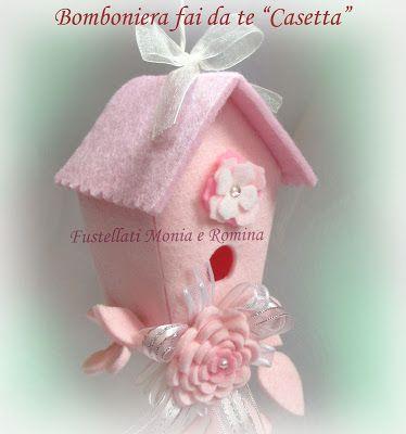 bomboniera casetta uccellini 3D feltro fai da te rosa feltro pannolenci bimba battesimo comunione cresima baby shower