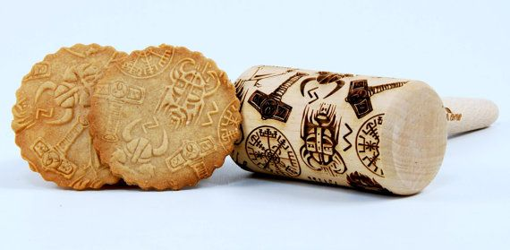 Vikings Viking THOR Scandinavian PATTERN - MIDI Embossing rolling pin, engraved rolling pin