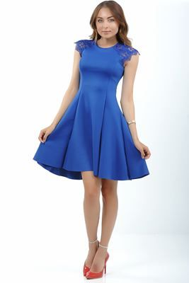 Detayları Göster Dantel Detay Geniş Etek Saks Mavisi Elbise