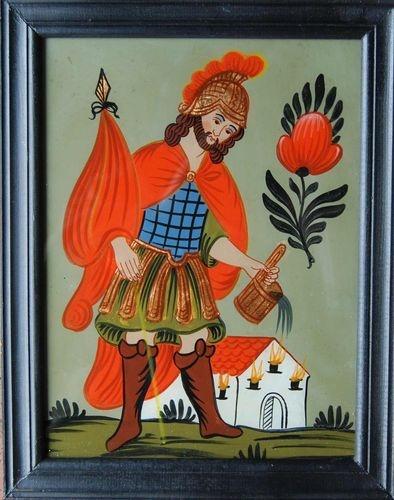 Der Heilige Florian - Hinterglasbild des 20.Jahrhunderts | eBay