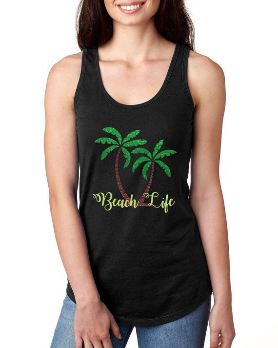 Glitter Shirt // Palm Tree Shirt // Beach Life Shirt // Beach