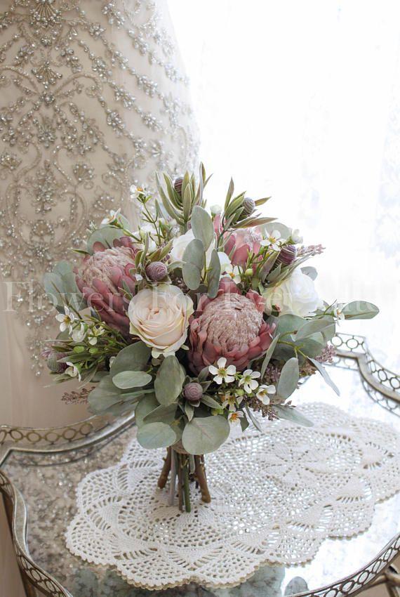 Erin Dusty Pink Protea Amp Roses Rustic Silk Wedding Bridal
