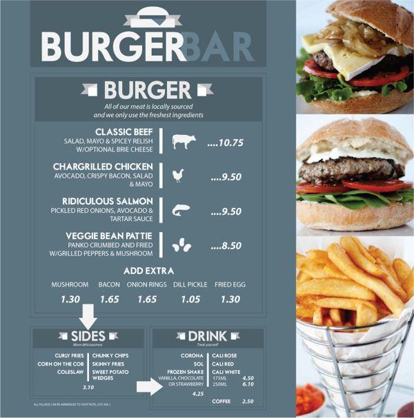 20 Deliciously Designed Food & Drink Menus #BurgerBAR Menu
