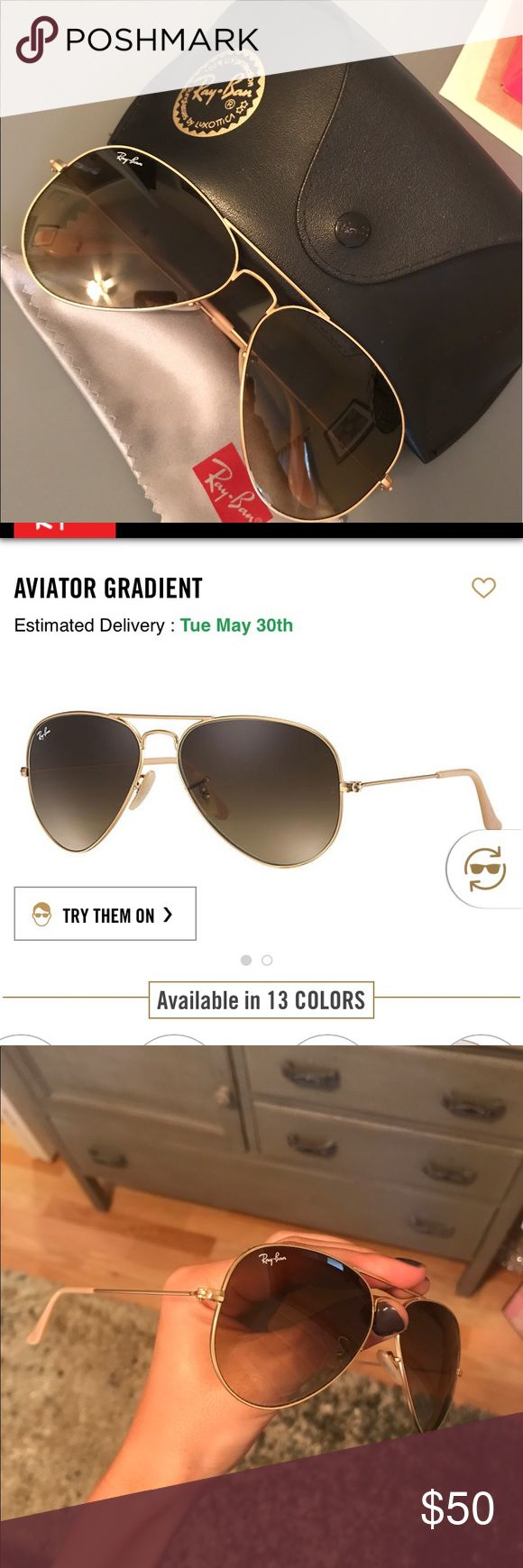 Ray-Ban Aviators - Women's RB 3025 Women's Ray-Ban RB 3025.  Classic gold aviator sunglasses. Gold frame with brown gradient tint.  Great condition, like new. Message me if you have any questions!! Case and cleaning cloth are included :) Ray-Ban Accessori