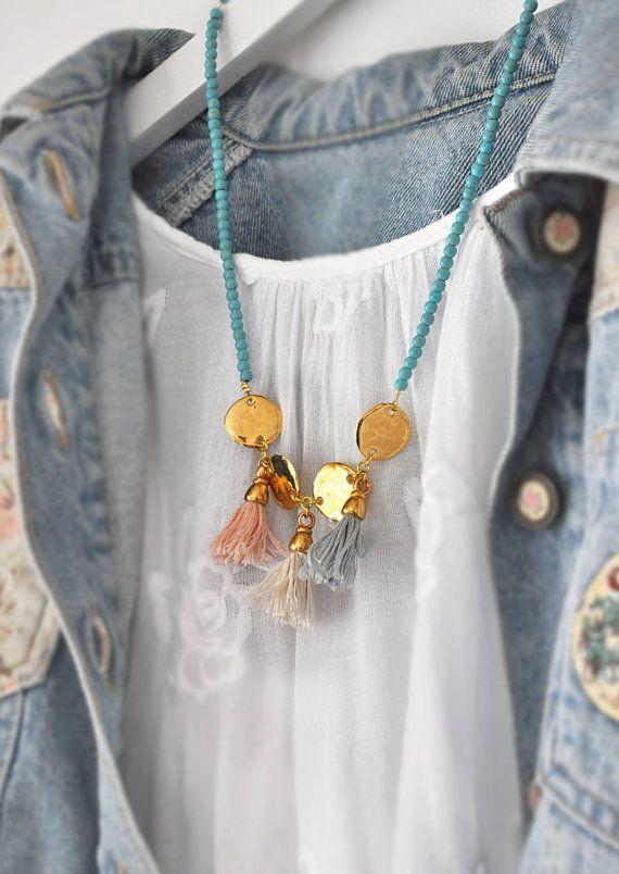 Gouden franje ketting  Turquoise ketting  door stellacreations