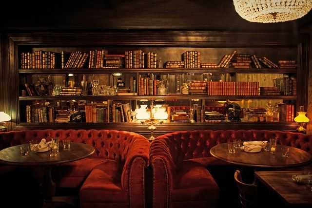 As if Gilt Bar weren't gorgeous enough, there's an even more intimate speakeasy called the Library hidden below it. Red velvet tufted banquettes, antique leather-bound tomes, and exposed brick create a romantic ambience in this dimly lit subterranean bar. In addition to specialty cocktails, the Library serves the same menu as Gilt Bar upstairs. 230 West Kinzie Street; giltbarchicago.com