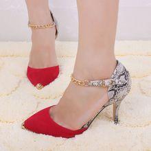 Grátis Womens envio bombas Sexy Ladies bico fino partido clássico salto alto sapatos primavera 2015 leopardo salto fino bombas de fundo vermelho(China (Mainland))