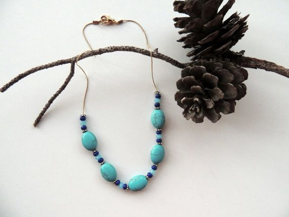 blue agate necklaceblue necklaceagate by Homeforglasslovers, $34.00