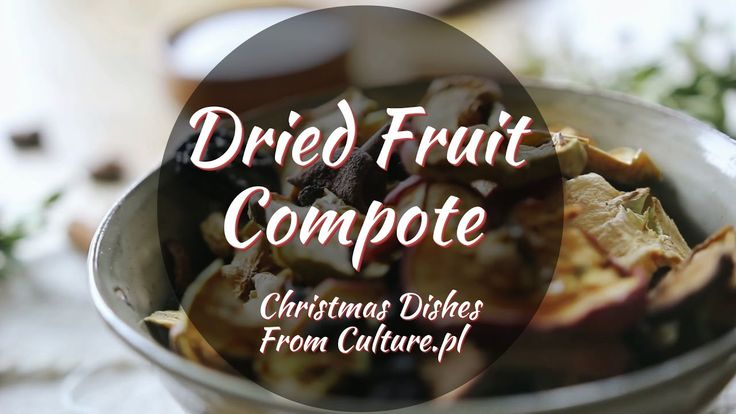 Find all 12 dishes of Polish Christmas here: http://culture.pl/en/article/the-12-dishes-of-polish-christmas  Compote is a traditional and popular beverage served at the end of Christmas Eve. It is made from cooked dried and smoked fruits, typically plums, apples, pears, raisins and apricots.
