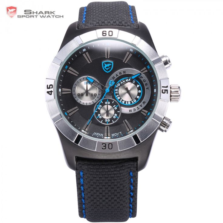 Ganges Shark Sport Watch Blue Auto Date Water Resistant Black Nylon Band Outdoor Men Military Watches Masculino Relogio / SH288  #me #men #fashionweek #sexyshoes #smartwatch #groom #gloves #love #belts #selfie #baby #bride #bags #sale #wallets