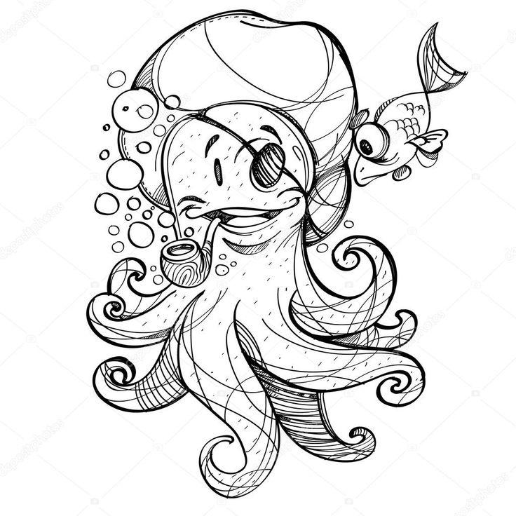 Картинки по запросу пират рисунок | Эскиз осьминога ...