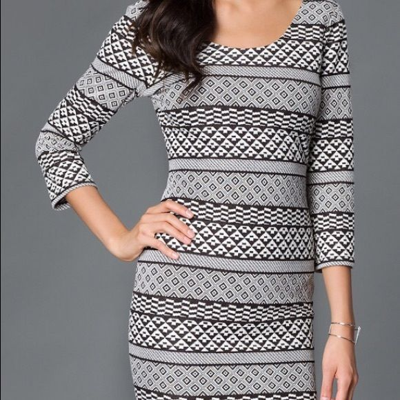 As U Wish Aztec Sweater Dress. Size Small. 63% Cotton/34% Polyester