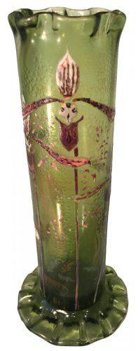 Gallé Emile cristallerie vase à décor émaillé de champignons et orchidées