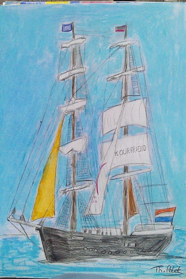 Mijn schilderij is nu afgewerkt van de boot Mercedes. Van Oostende voor anker